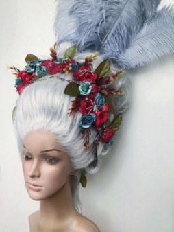 Rococo styled wig with flowers feathers and jewels - 18th century wig
