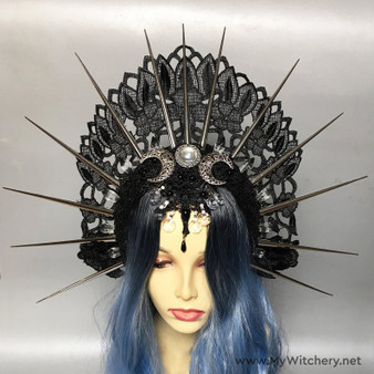 Wiccan witch wedding headdress with triple moon and spiked halo