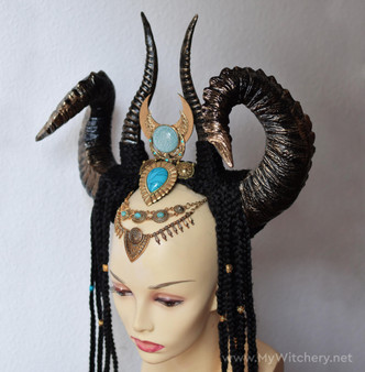 Horned headdress inspired by Egyptian goddess Hathor
