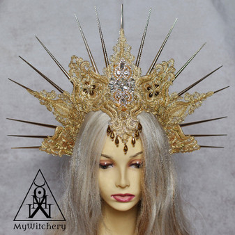 Fantasy  gothic golden wedding headdress