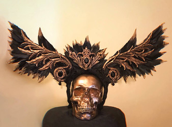 READY TO SHIP Black and Gold Valkyrie wings headpiece