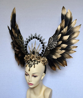 Golden wings feather headpiece with halo  - Gothic angel headdress
