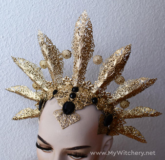 Queen of Damned crown - Vampire golden headdress - Akasha cosplay headpiece - Gothic headpiece
