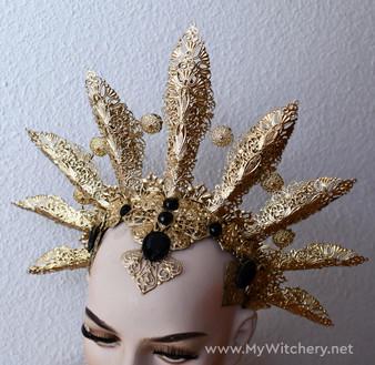Queen of Damned crown - Vampire golden headdress - Akasha cosplay headpiece - Gothic headpiece