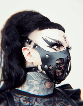 Leather and lace gothic fetish face mask