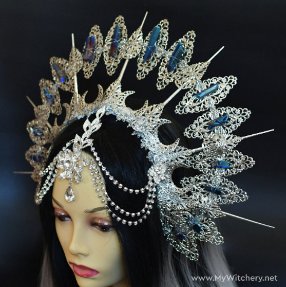 Gothic tribal fairy spike crown with natural crystals