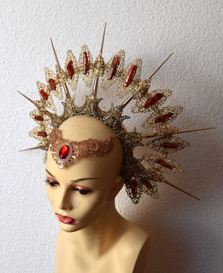 Red priestess filigrie crown spiked crystal halo