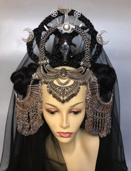 Gothic wiccan wedding headpiece with tribal jewelry and veil