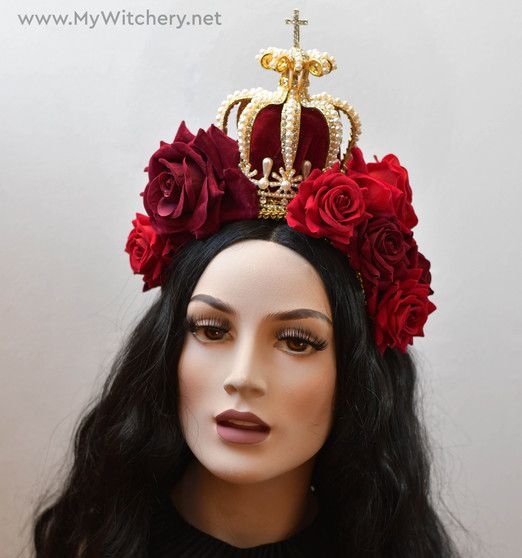 Gothic lolita queen crown headdress with roses