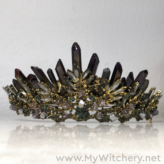 Nymph fantasy tiara with crystals - Pagan wedding headpiece