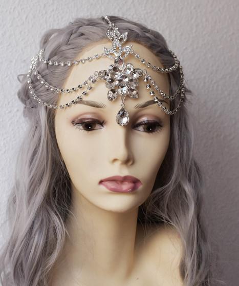 Ethnic layered silver wedding headpiece