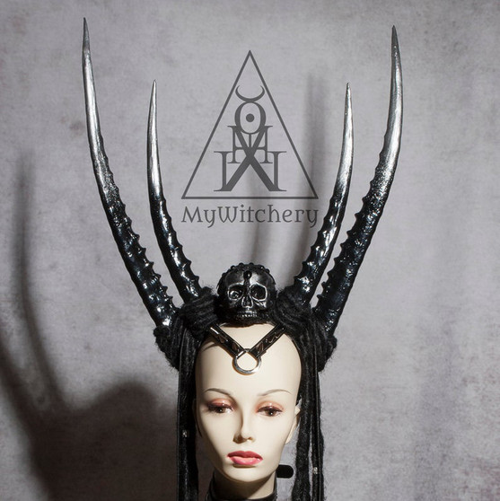 Anubis crown gothic headpiece - Black horns headdress - Krampus