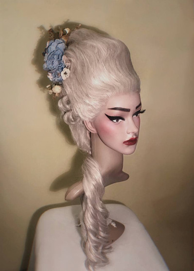 18th century fashion styled wig with flowers