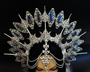 Filigree gothic headpiece Spiked crystal halo Silver filigree and blue iridescent crystals