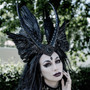 Evil Valkyrie gothic headdress with horns and wings