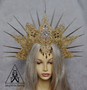 Gold spiked halo crown for tribal dance costume