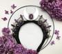 Moon goddess witchy ceremonial crown  -  Silver quartz crystal headpiece  -  Pagan wedding celestial headdress - White witch gift