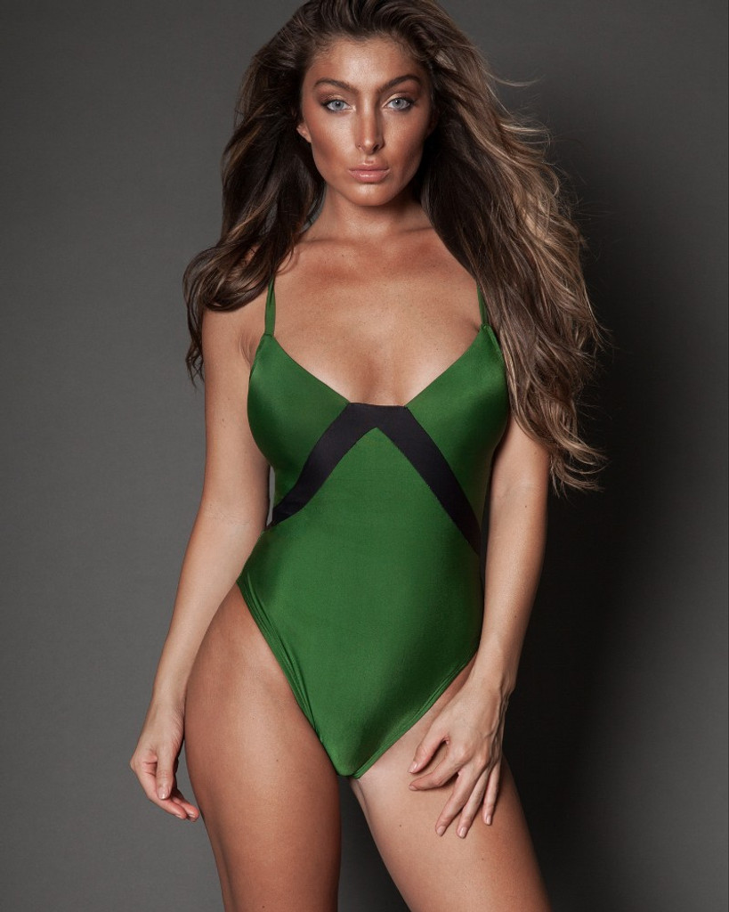 GREEN/BLACK ONE PIECE