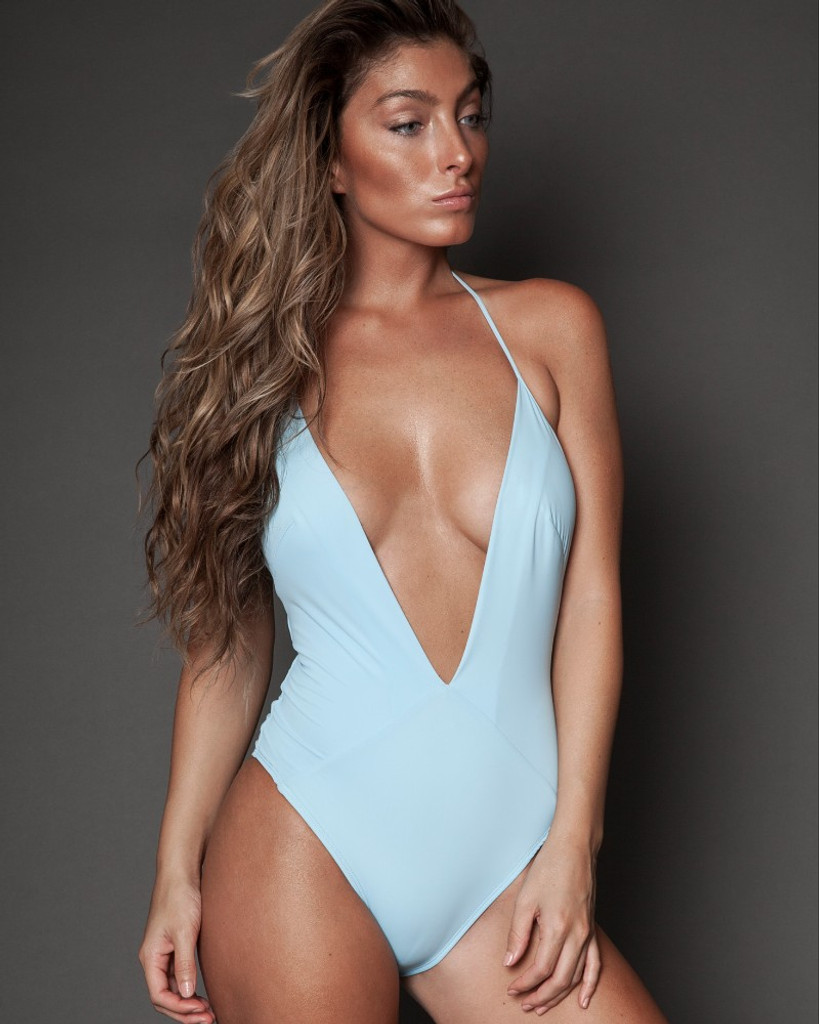 Baby Blue Deep V Halter One-piece
