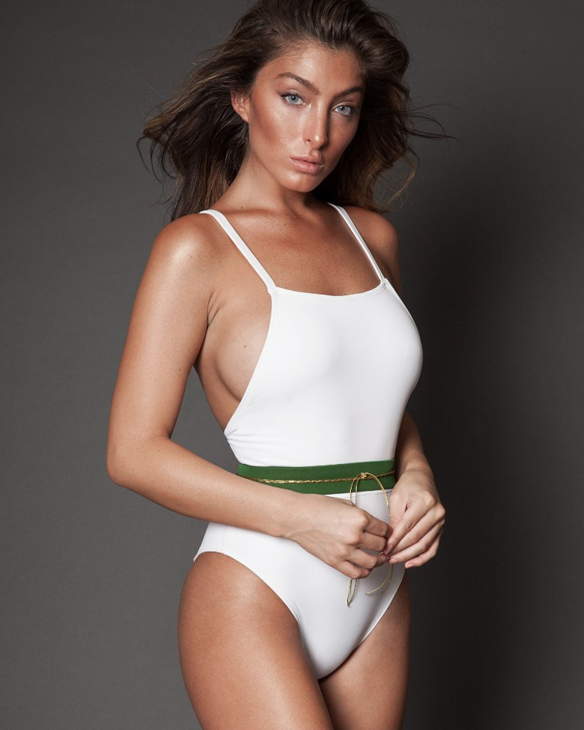 White Belted One Piece