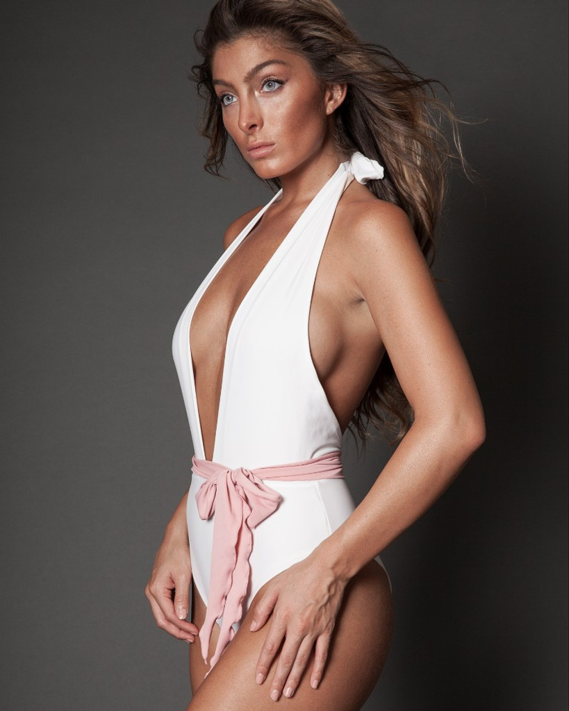 Deep V White One Piece