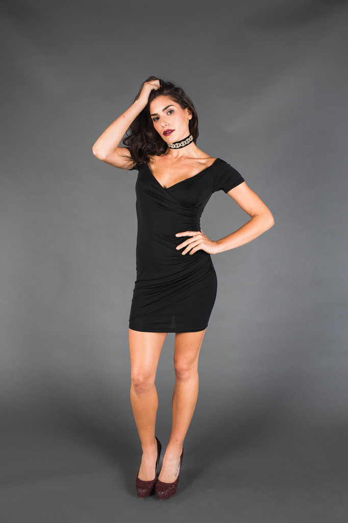 Black Short Sleeve Crisscross Dress