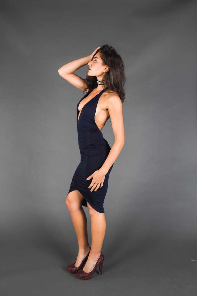 Black Halter V-Neck Gathered Dress