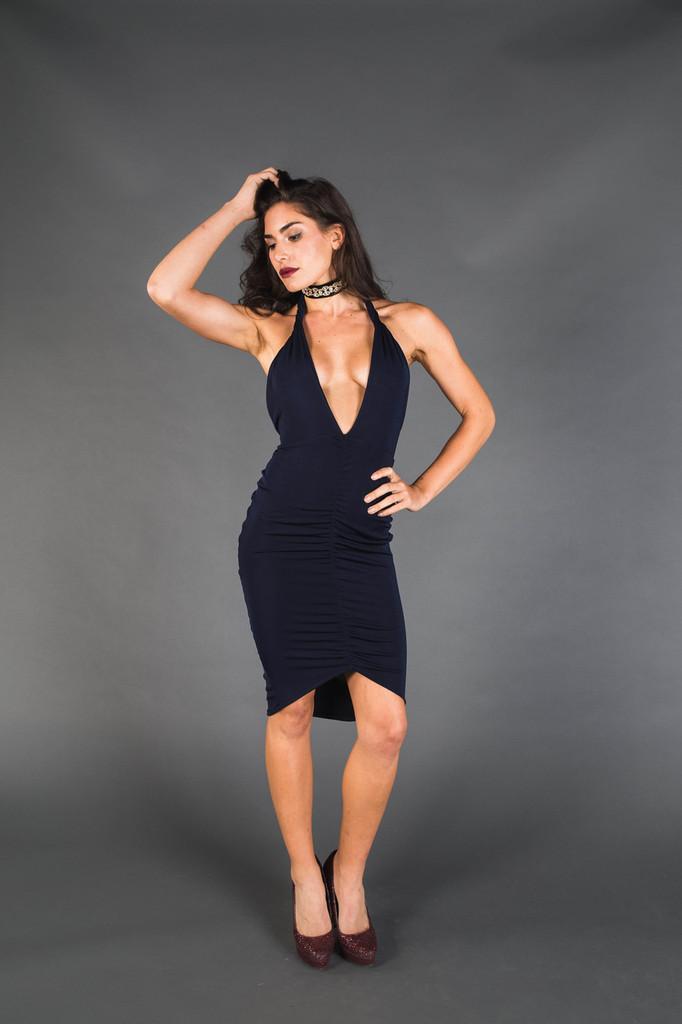Black Halter V-Neck Gathered Dress