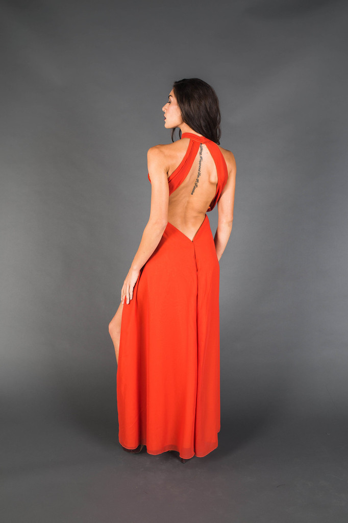 Burnt Orange Chiffon Dress