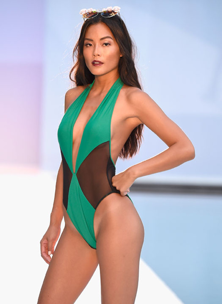 Deep V Green With Black Mesh One-Piece Swimsuit