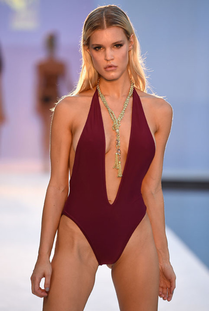 Red Burgundy Deep V One-Piece Swimsuit