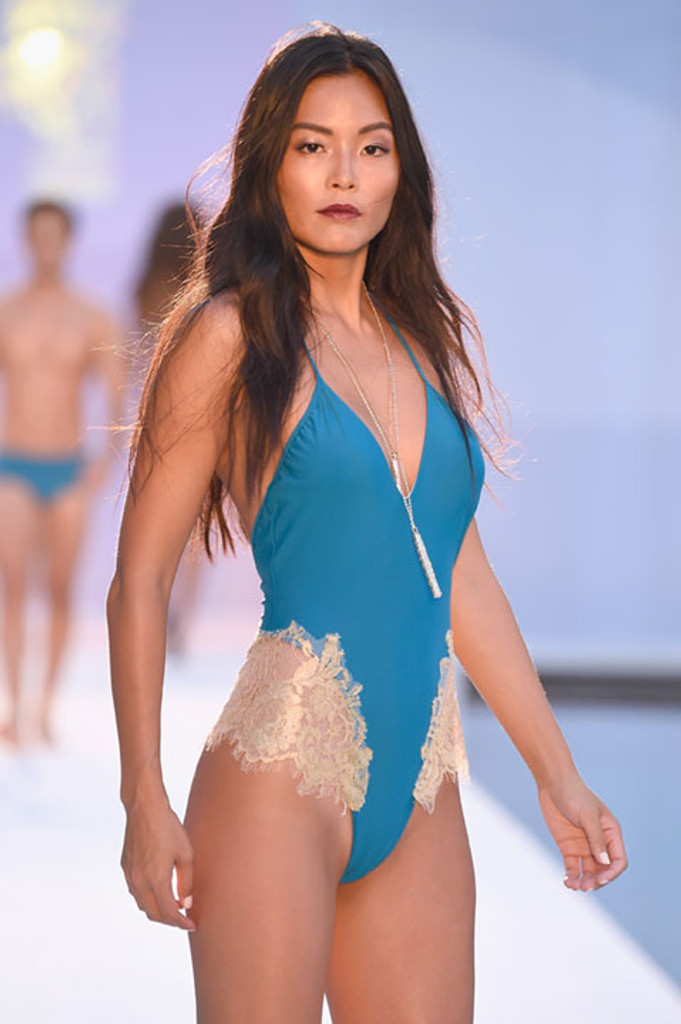 Blue With Gold Lace Applique One Piece Swimsuit