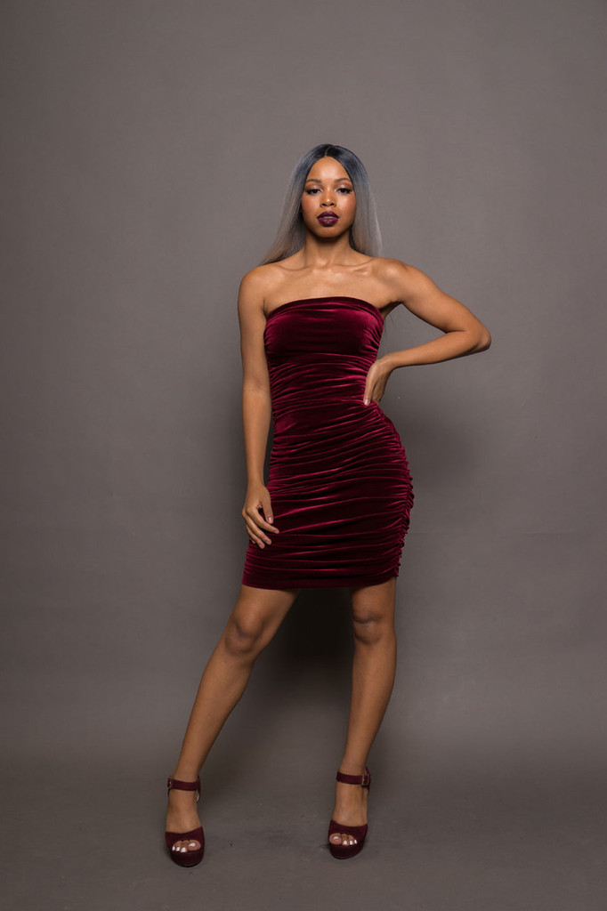 Velvet Strapless Ruched Dress