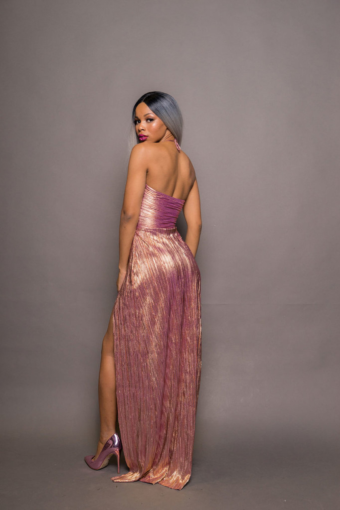 Rose Gold Twist Front Maxi Dress W Thigh Slit SOLD OUT!