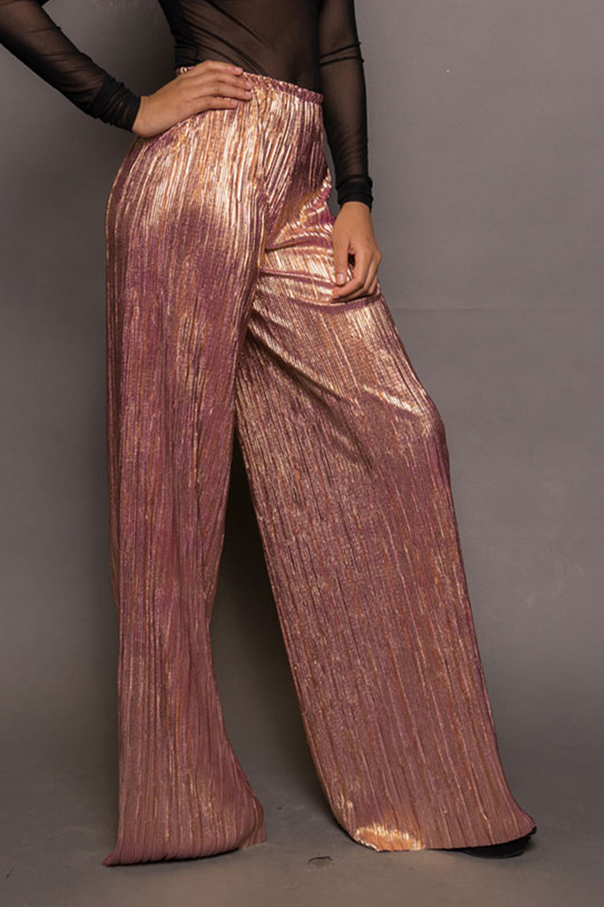Rose Gold Metallic Wide Leg Pants SOLD OUT!