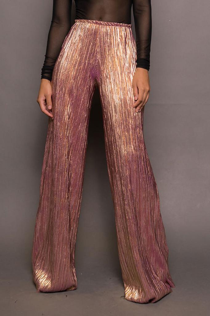 Rose Gold Metallic Wide Leg Pants