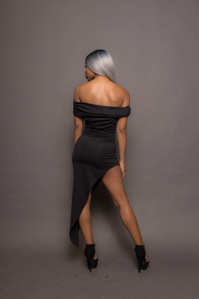Black Off Shoulder Ruched Asymmetrical Dress