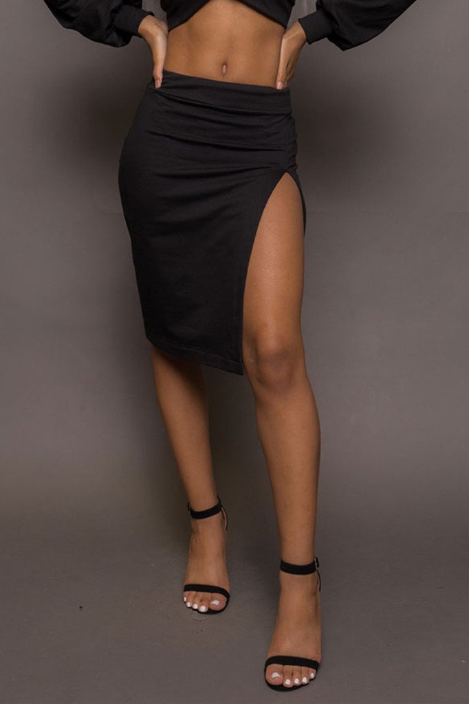 Thigh Slit Pencil Skirt
