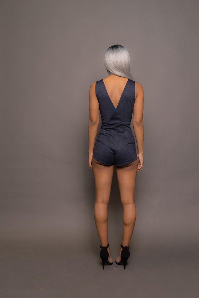 Deep V Short Jumpsuit