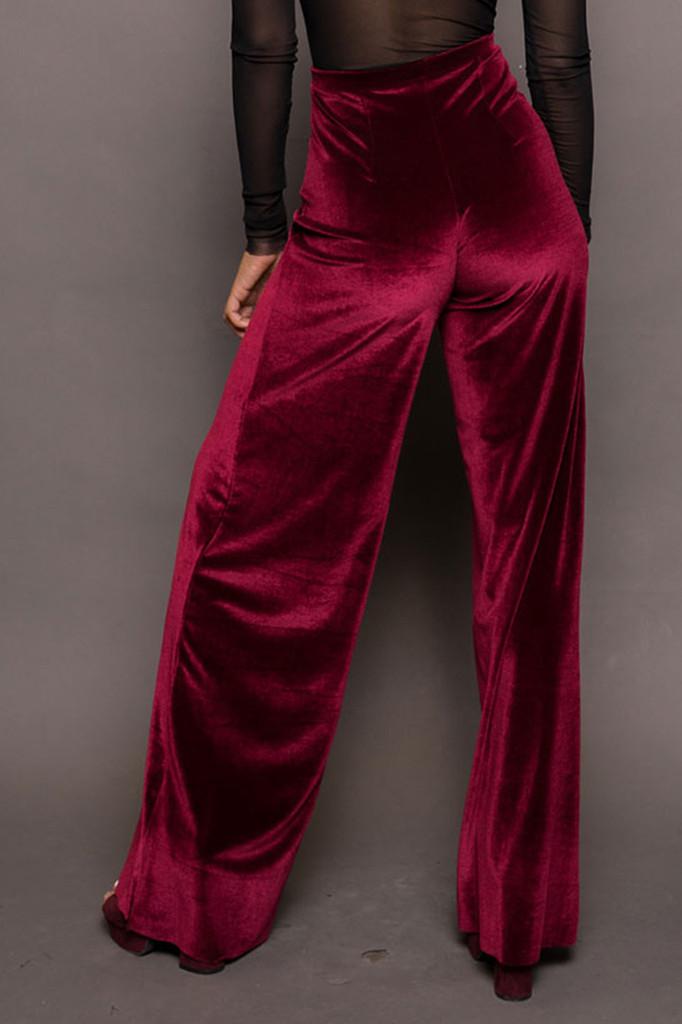Red Velvet Wide Leg Pants