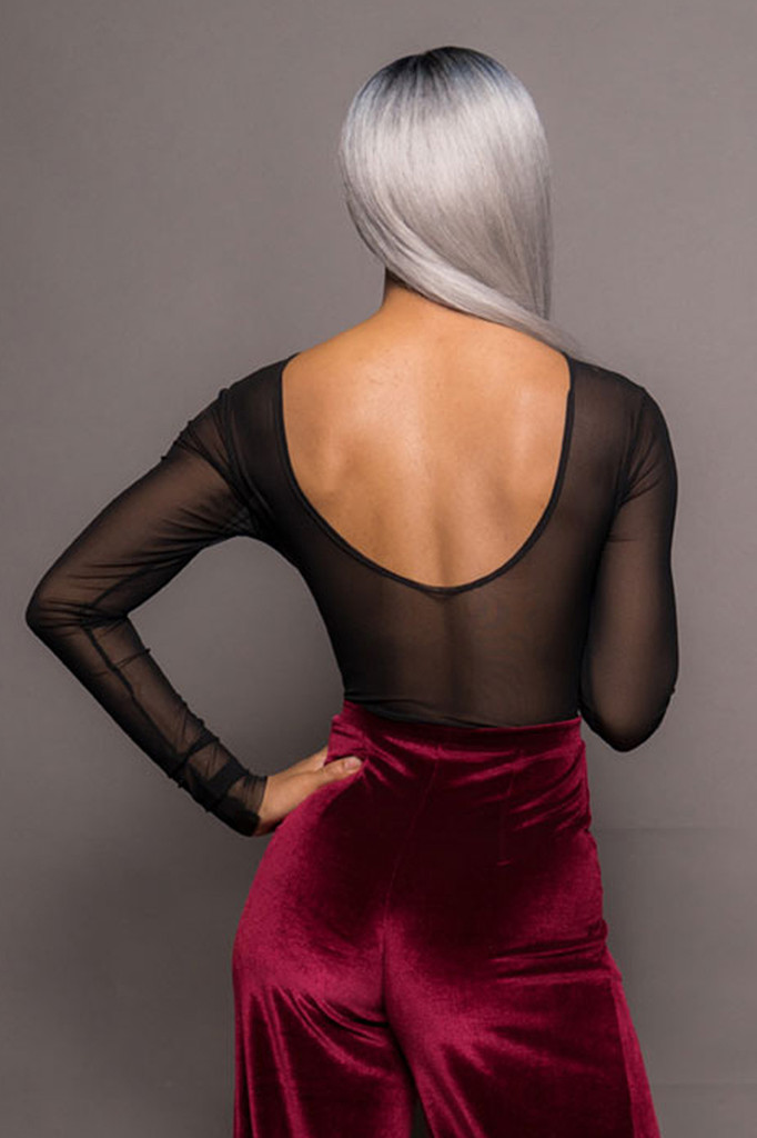 Black Long Sleeve Mesh with Red Velvet Body Suit