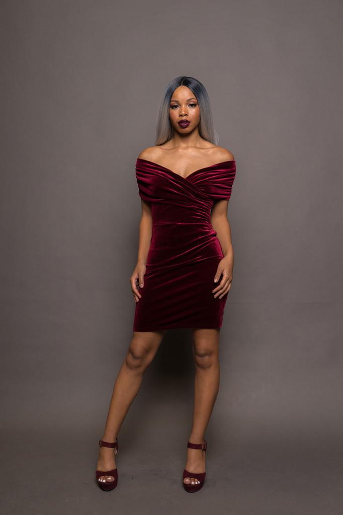 Velvet Off Shoulder Cross Front Ruched Dress