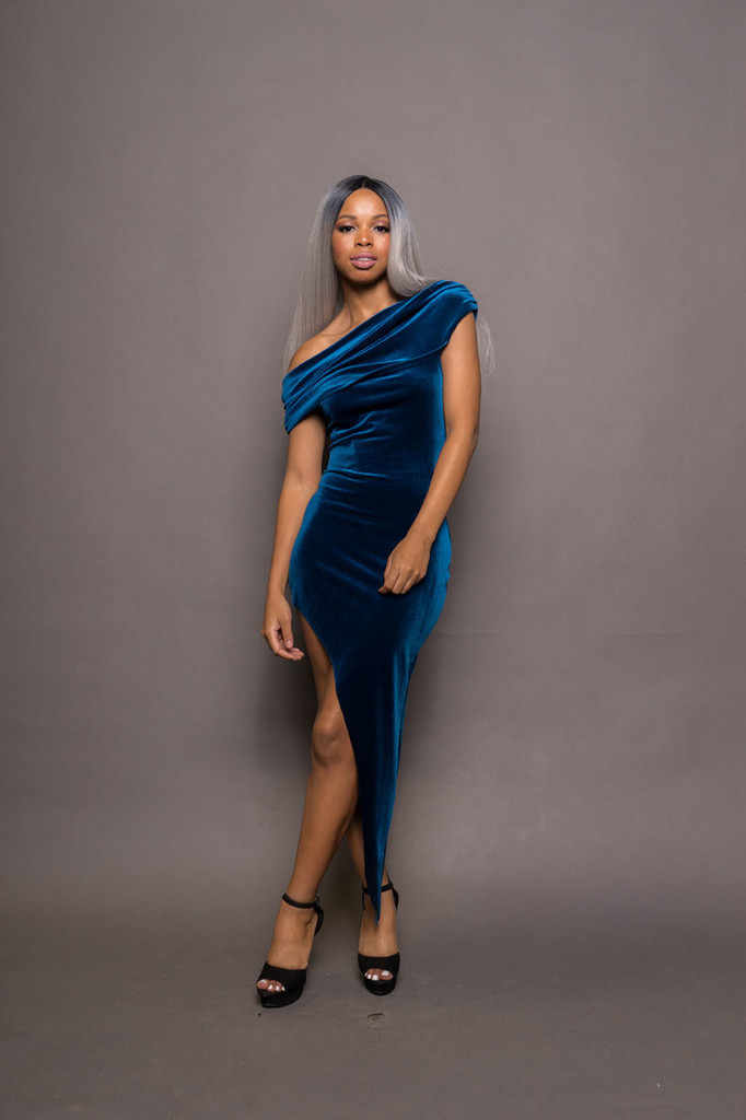 Blue Velvet Off Shoulder Ruched Asymmetrical Dress