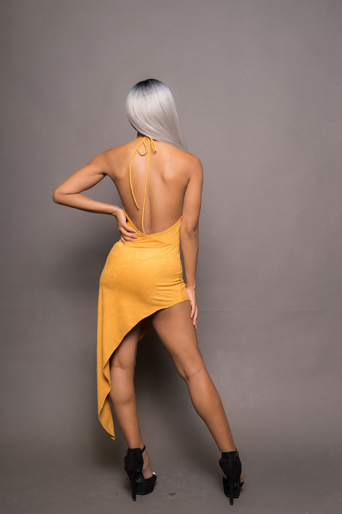 Suede Cowl Neck Assymetrical Dress