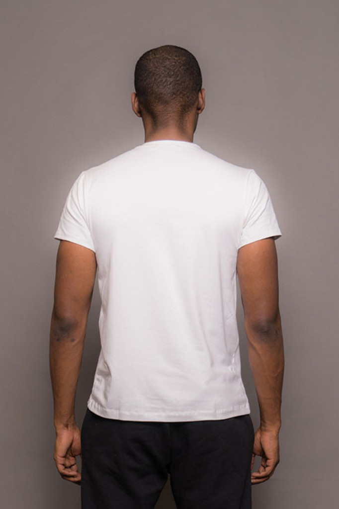 White Mens Crew Neck Logo Tshirt
