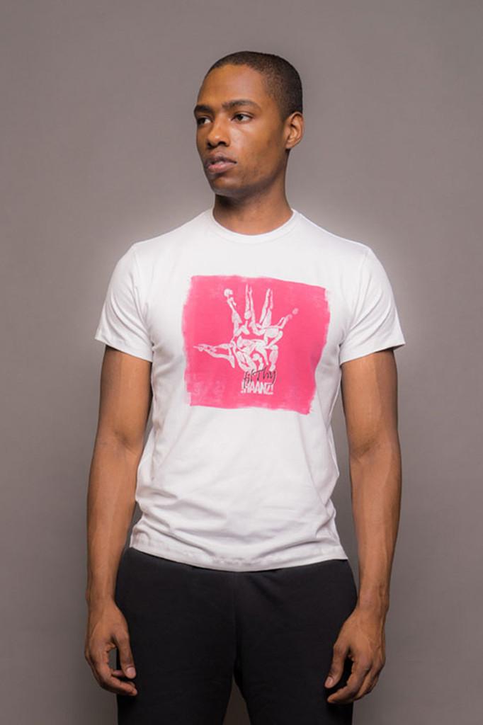 White Mens Crew Neck Logo Tshirt