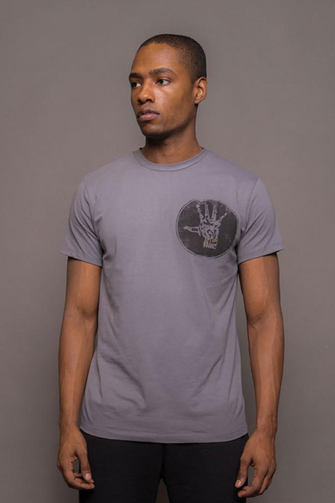 Grey Mens Crew Neck Logo Tshirt