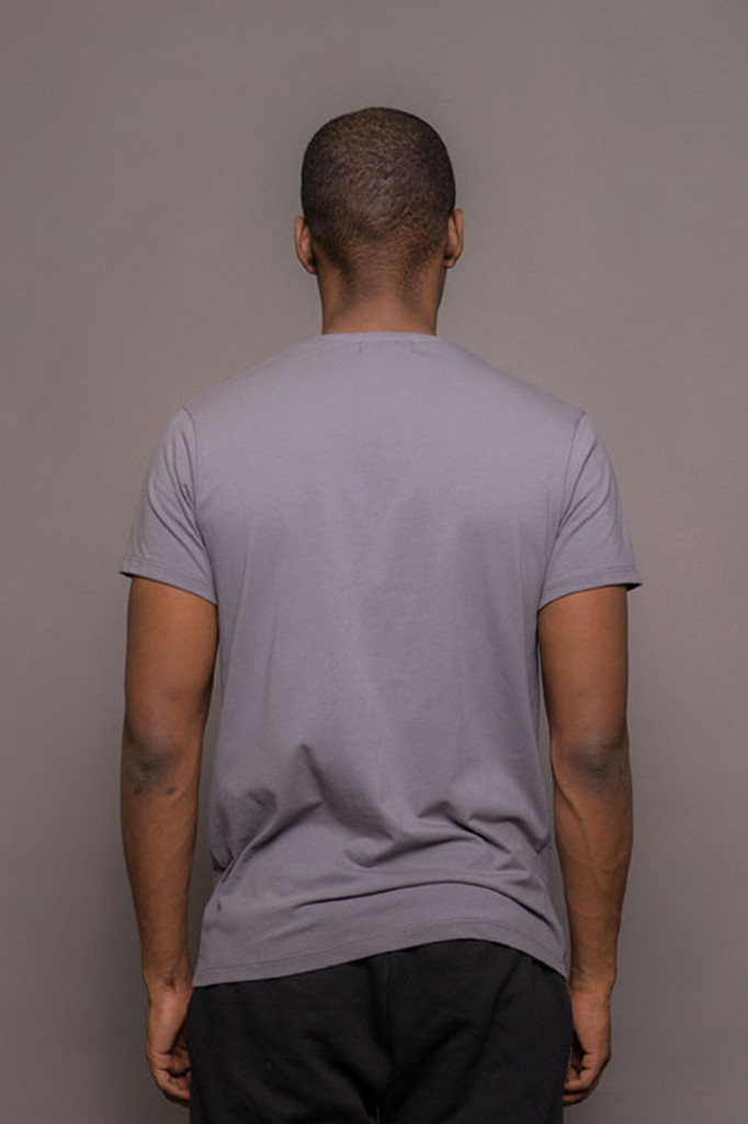 Grey Mens Crew Neck Logo Tshirt