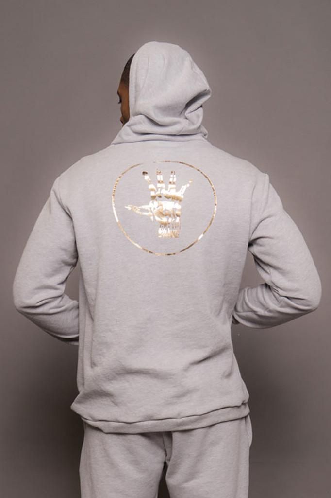 Grey Mens Gold Logo Hoodie