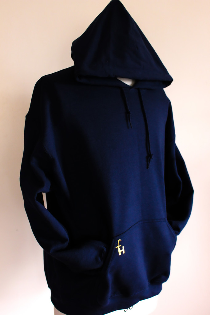Navy Blue pullover hoodie gold logo
